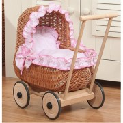 Плетеная ретро коляска для кукол Artwares Attiс Natural Wooden