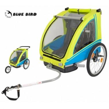 Велоприцеп детский Monz Blue Bird Bicycle Trailer Jogger Two Seater