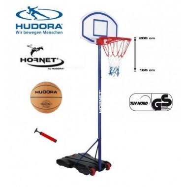 Баскетбольная стойка Hudora Hornet 205 с мячом
