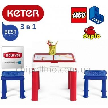 Игровой стол для конструктора и творчества Keter Constructable 3 в 1
