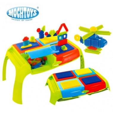 Детский игровой столик с конструктором Mochtoys Bloko Pin Bricks