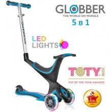 Самокат-беговел Globber Evo 5 в 1 Lights Sky Blue