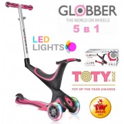 Самокат-беговел Globber Evo 5 в 1 Lights Deep Pink