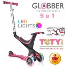 Самокат-беговел Globber Evo 5 в 1 Lights Deep Pink