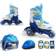 Ролики раздвижные SMJ sport COMBO Blue и защитный набор 2в1