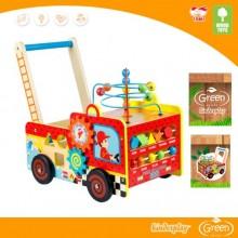 Деревянная каталка-сортер Пожарная машина Wood toys